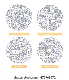 Set of doodle line vector illustration concepts of career growth, professional development, building competitive career skills, setting career goals and leadership in business