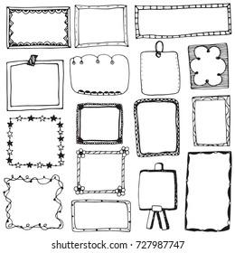 Set of doodle lines hand drawn frames vector illustration