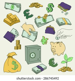Set of doodle money symbol vector illustration