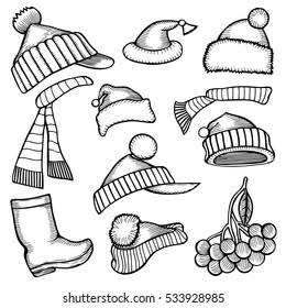 Set doodle Monochrome Christmas hats scarf, branch berries for your creativity. Vector illustration