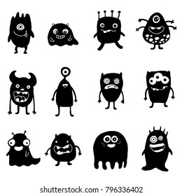 set of doodle monsters silhouette