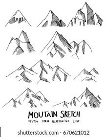 Set of Doodle Mountain Sketch line vector illustration