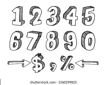 Set of Doodle Number Vector. sketch style figures, vector illustrations