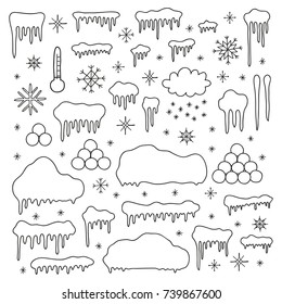 Set of doodle outline snow caps, icicles, snow balls, snowflakes for winter decoration isolated on white background.