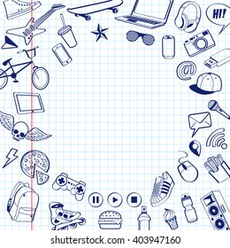 Set of doodle pen drawn. Background from white squared paper page with red margin. Vector illustrations in notebook. teenagers having fun. back to school. Icons sports, music, food, gadgets for teens