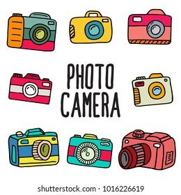 set of doodle photo camera