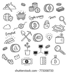 Set of doodle related to Bitcoin, crypto currency and block chain technology