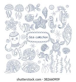 Set of doodle sea elements