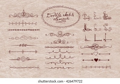 Set of doodle sketch decorative dividers, corners, text frames and borders isolated on white background. Vector illustration.