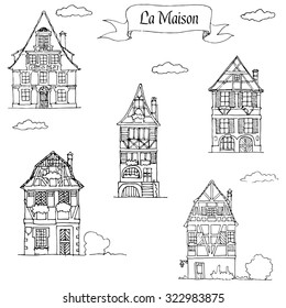 Set of doodle sketch houses in traditional european style. Five vintage residential homes.
