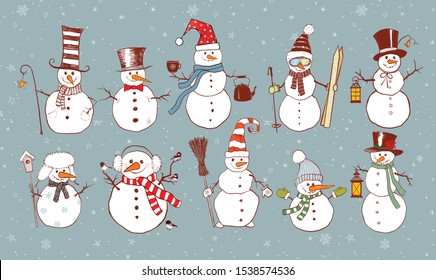 Set of doodle sketch snowmen on blue background with snowflakes.