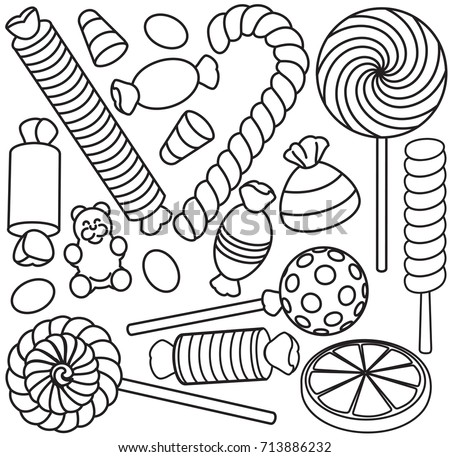 set doodle sketch sweets candy coloring stock vector royalty free