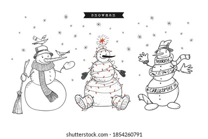 Set of doodle snowmen. Cute hand-drawn 3 smiling snowmen are standing under the snowflakes. Birds are sitting on it, in a garland and felt boots, wishes a Merry Christmas. Vector stock illustration.
