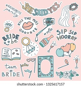 Set of doodle stickers for Bachelorette party. Selfie stick, balloons, props, veil, champagne, diamond rings, book, She Said Yes, Kiss The Miss Goodbye, Sip Sip Hooray, Team Bride, Bride To Be.