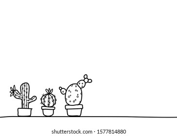 A set of doodle style of three pots of cactus in various shapes. It's hand drawing isolated on white background. There's a copy space for your text.