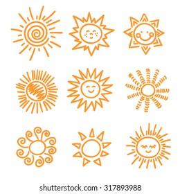 Set of doodle sun icons. Hand drawn vector symbols of sun.