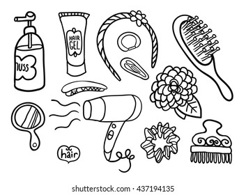 Set of doodle tools of the hairdresser. Good for coloring book.
