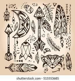 Set of doodles in a bohemian style. Vector design elements in a looks like a hand drawn illustrations. Bohemian and tribal elements: hearts, herbs, arrows, feathers, moon and crystal