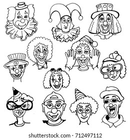 set of doodles of clowns' portraits, black and white, different images and character