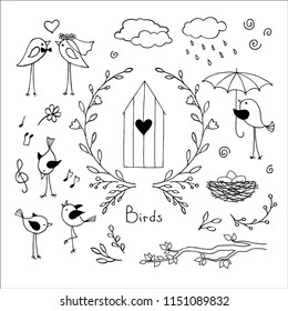 Set of doodles of cute handdrawn birds, twigs and other elements.