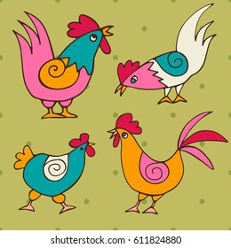 A set of doodles of funny chickens and roosters drawn by hand. Birds isolated on color background. Painted vector illustration