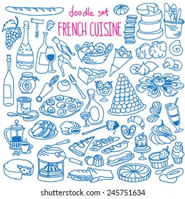Set of doodles, hand drawn rough simple French cuisine food sketches. Different kinds of main dishes, desserts, beverages. Vector set isolated on white background for cafe menu, fliers, chalkboard