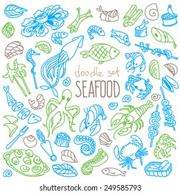 Set of doodles, hand drawn rough simple seafood theme sketches. Vector set isolated on white background.