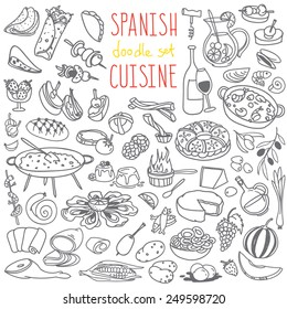 Set of doodles, hand drawn rough simple Spanish cuisine food sketches. Different kinds of main dishes, desserts, beverages. Vector set isolated on white background for cafe menu, fliers, chalkboard