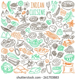 Set of doodles, hand drawn rough simple Indian cuisine food sketches. Different kinds of main dishes, desserts, beverages. Vector set isolated on white background for cafe menu, fliers, chalkboards