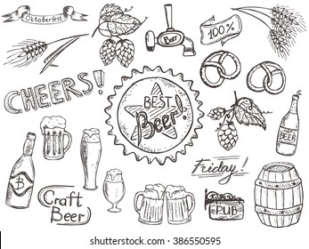 Set of doodles, hand drawn rough simple beer and brewery theme sketches with lettering. Vector isolated on white background for cafe menu, fliers, chalkboard