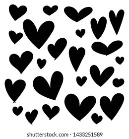 Set of doodles hearts. Grunge stamps collection. Love shapes for your design. Textured Valentine's Day signs. Romantic love symbols set for greeting valentines card element. Hand drawn.