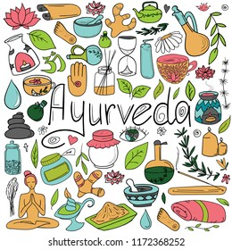 A set of doodles on the theme of Ayurveda. Painted in different colors.