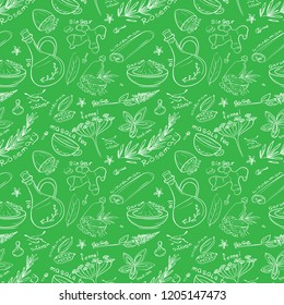 Set of doodles on the theme of spices and Ayurveda. Seamless pattern.