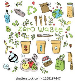 Set of doodles on the theme of zero waste