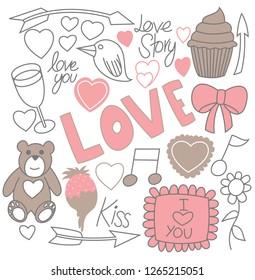 Set of doodles Valentine's day