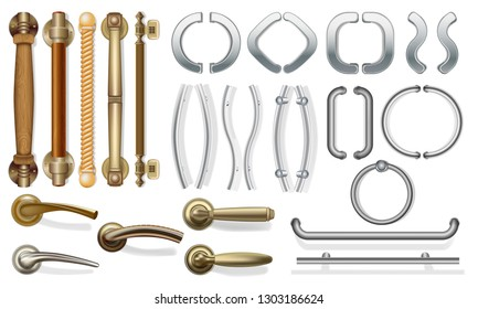 A set of door handles for doors of different types. push handles for entrance doors, between rooms. Doorknob Metal and wood. For web design. Isolated on white background. Vector illustration.
