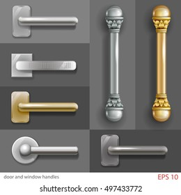 Set of door and window handles in different styles, in vector graphics with transparent shadows.