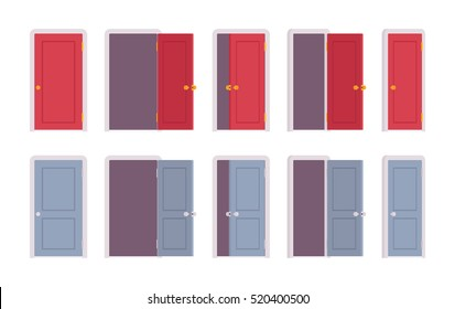 Set of doors in red and blue color, different positions, closed, halfopen, slightly ajar. Cartoon vector flat-style illustration