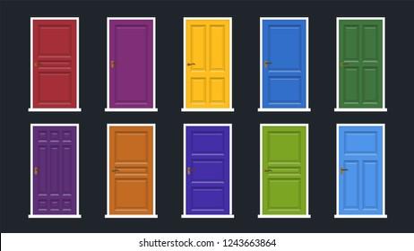 Set of doors. Vector illustration.