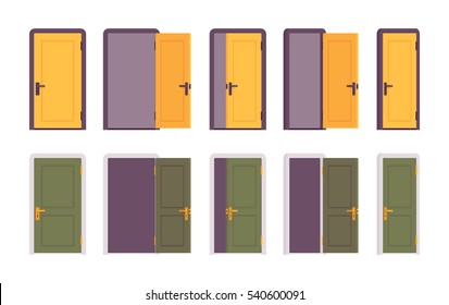 Set of doors in yellow and green color, different positions, closed, halfopen, slightly ajar. Entrances for coming, exists for going, open to welcome or shut for for strangers, public and ntimate