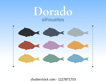 Set of dorado silhouettes. Unique hand-drawn silhouettes of dorado. Yellow, grey, blue, green, pink, orange, red, black. Vector. Isolated on background.
