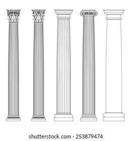 Set of Doric, Ionic and Corinthian Columns. Classic columns  in Greek Ancient style