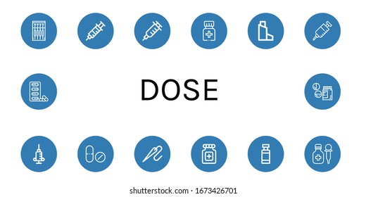 Set of dose icons. Such as Needle, Syringe, Vaccination, Medicine, Inhaler, Vaccine, Drug, Pills, Drug container, Drugs , dose icons