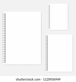 Set of dot grid notebook vector mock-ups. A4, A5, A6 size. Spiral bound notepads mockup. Wirebound diaries