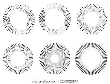 Set of dot ornaments. Frames made of dots. Round pattern. Circle shapes. Design background for invitations and holiday cards.