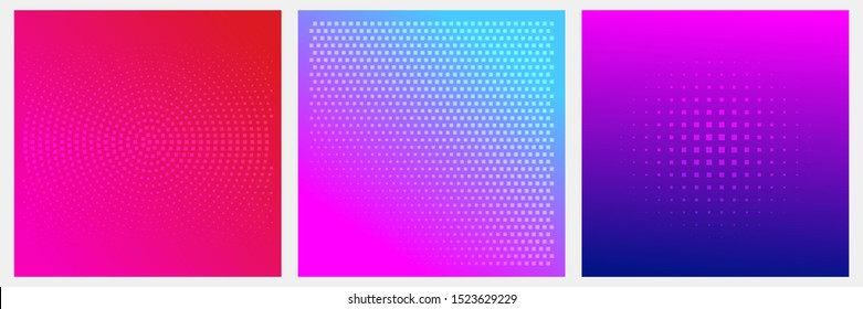 Set of dotted abstract forms. Grunge halftone vector background in neon colors. Distressed overlay texture. Abstract pattern with circles, waves and swirls.