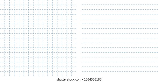 Set dotted square and lined grid notes sheet paper template vector illustration. Notebook paper copy space backgrounds, personal blank drafts, write ideas, management notes. Blanks.