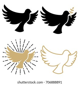 Set of dove icons. Pigeon with a laurel branch. Religious sign.  Peace day. Design elements for logo, label, emblem ,sign. Vector illustration
