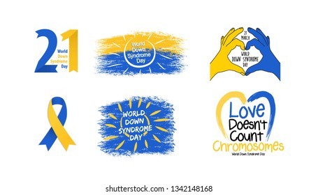 Set of Down syndrom emblems. World Down Syndrome Day