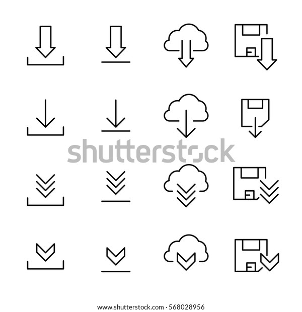 Set Download Icons Modern Thin Line Stock Vector (Royalty Free